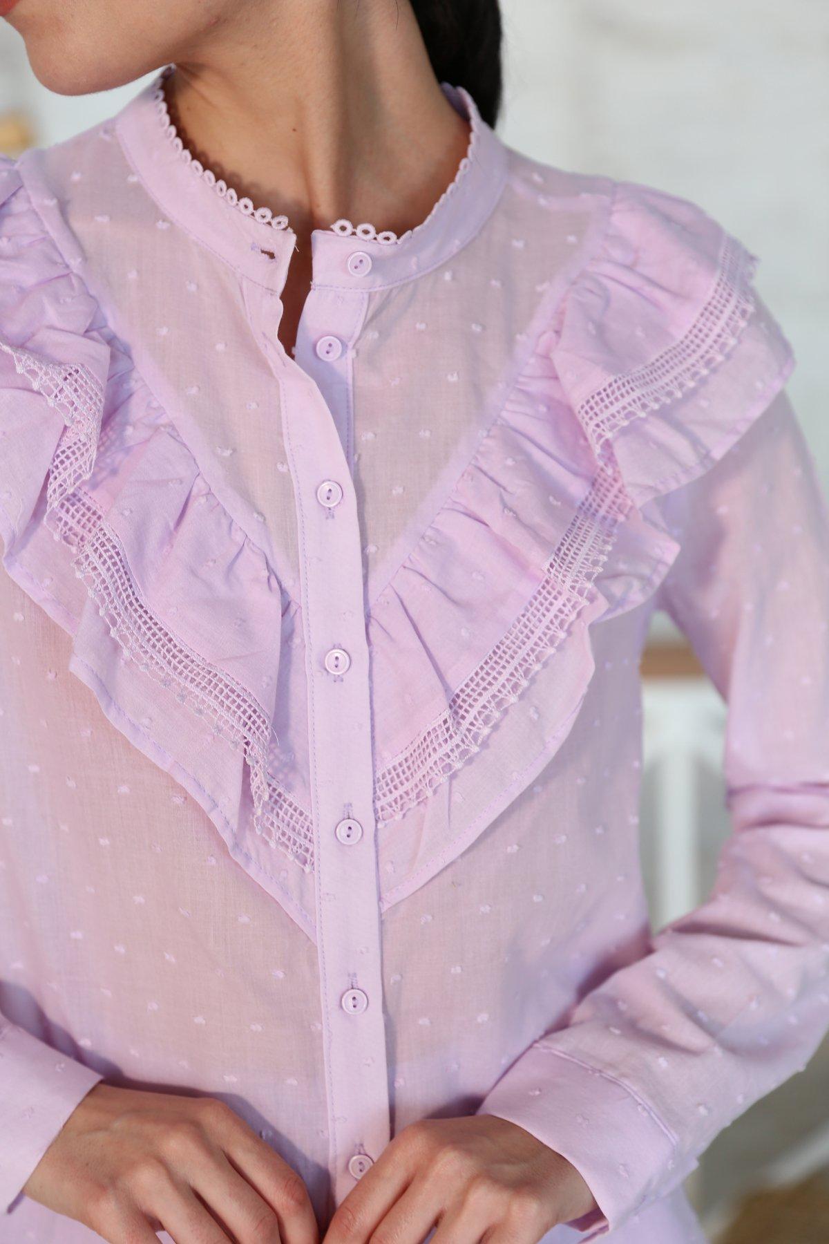 Hakim Yaka Fırfırlı Gömlek