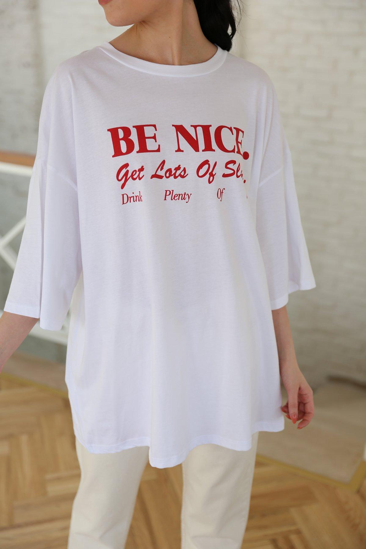 Oversize Yazı Baskılı Tişört