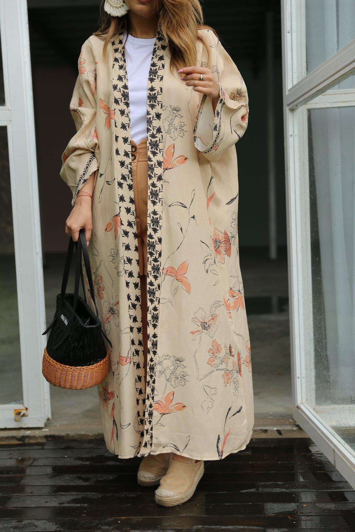 Çiçek Desen Uzun Kimono