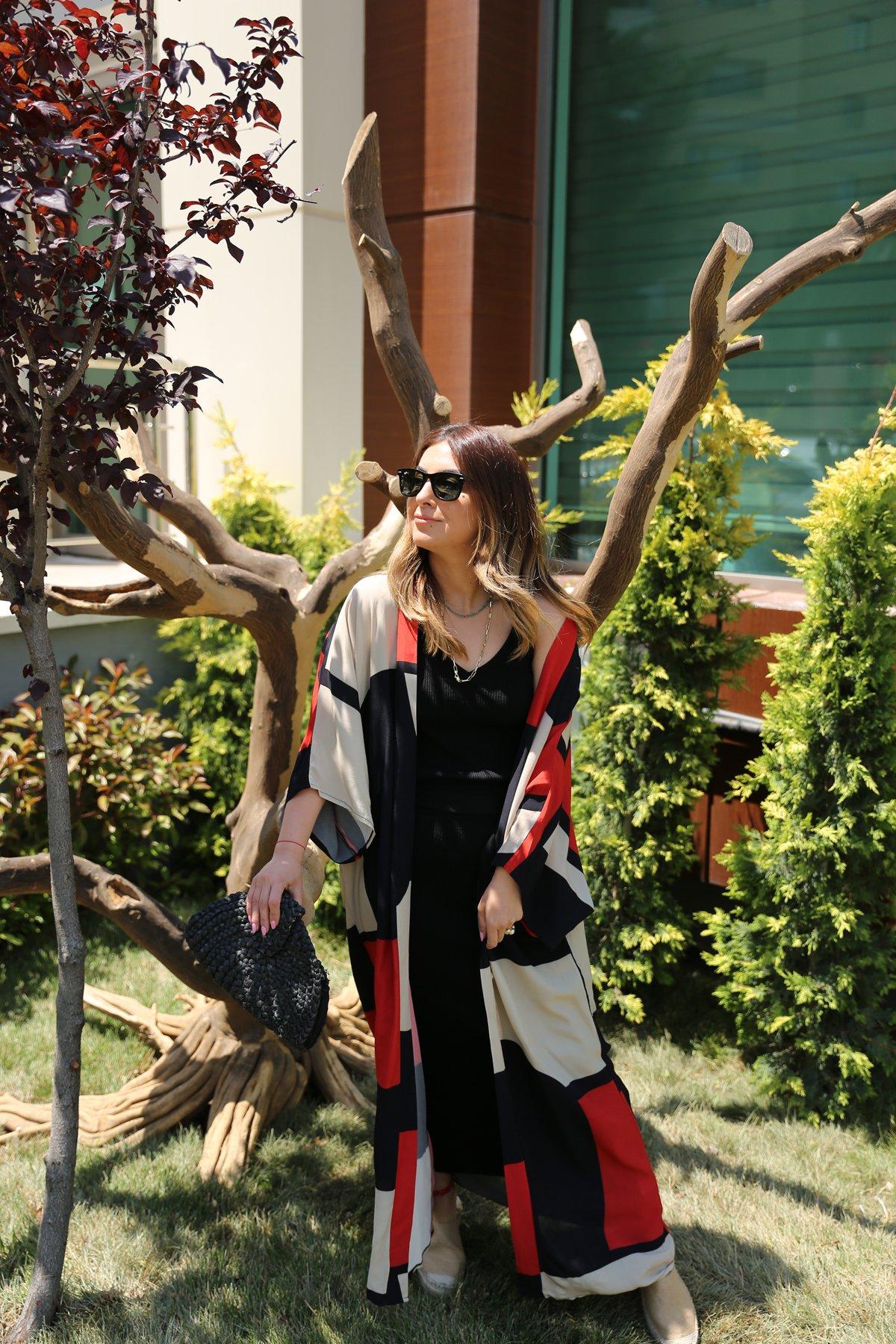 Blok Renk Uzun Kimono