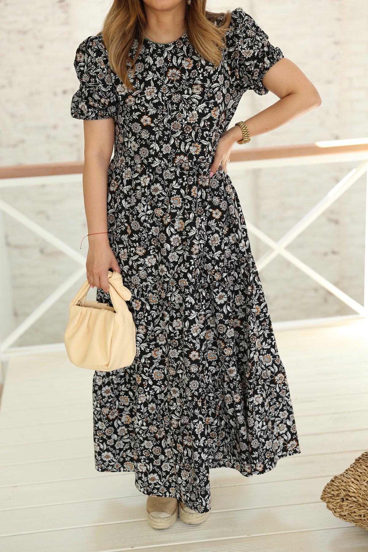 Kolları Lastikli Etek Altı Pileli Çiçekli Elbise