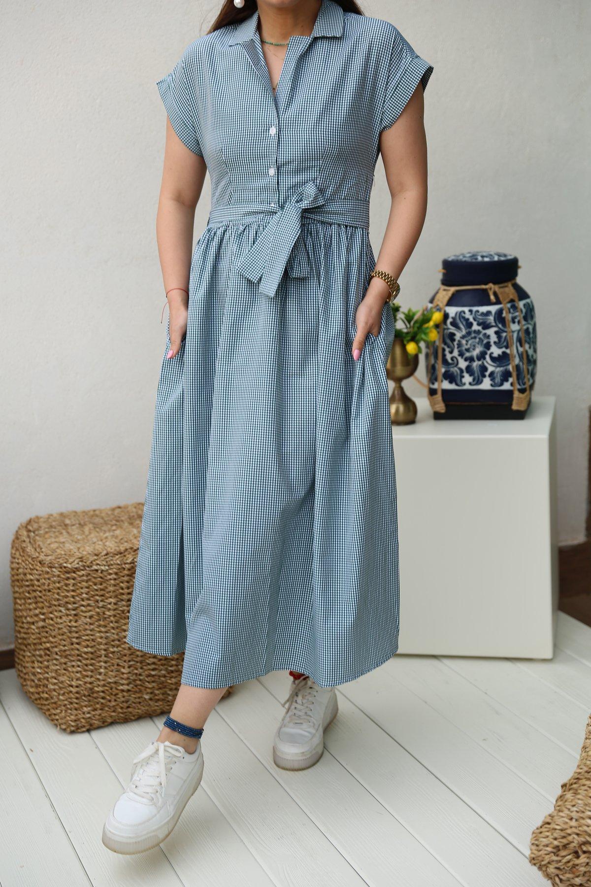 Gömlek Yaka Pütikareli Elbise