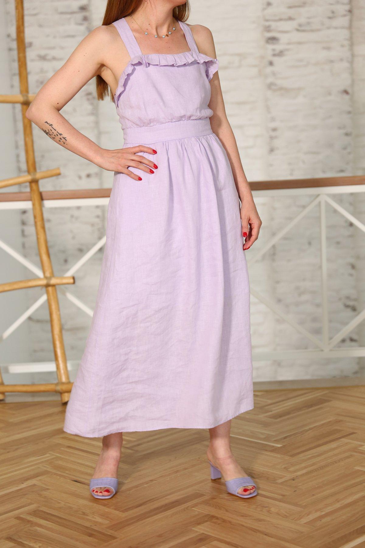Yaka Fırfırlı Askılı Elbise