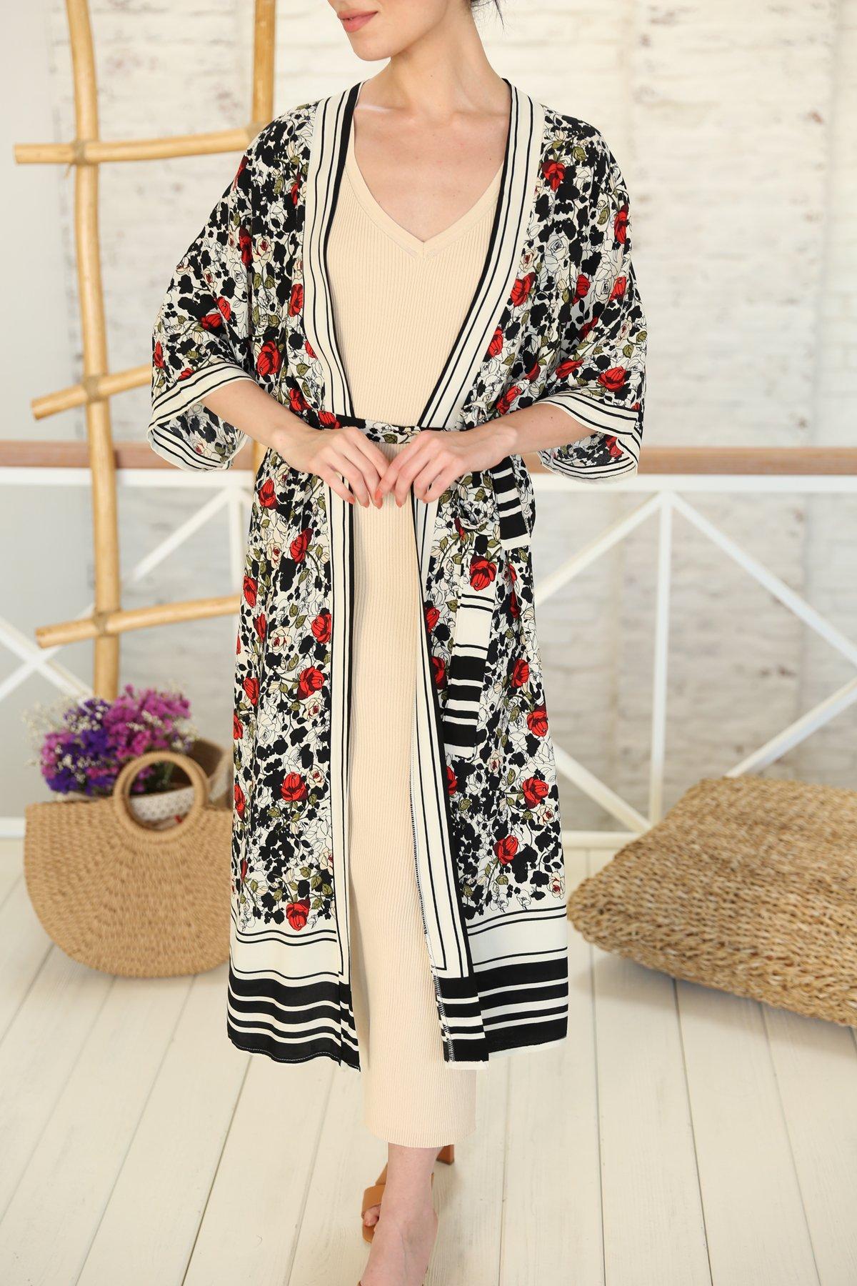 Önden Bağlamalı Gül Desenli Kimono