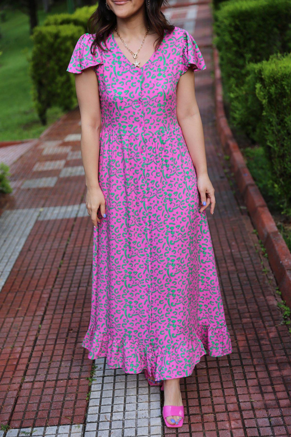 Boydan Düğmeli Desenli Elbise