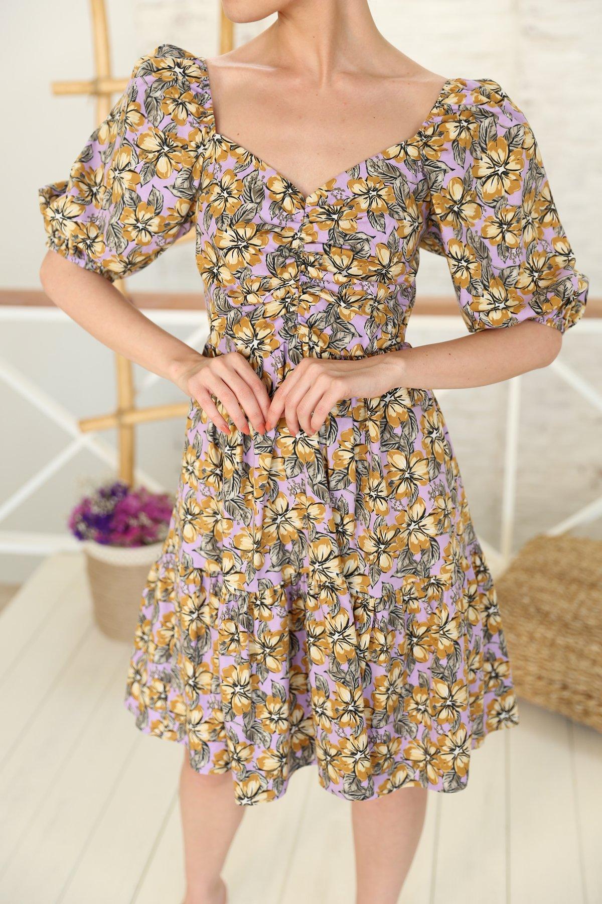 Önü Arkası V Çiçekli Elbise