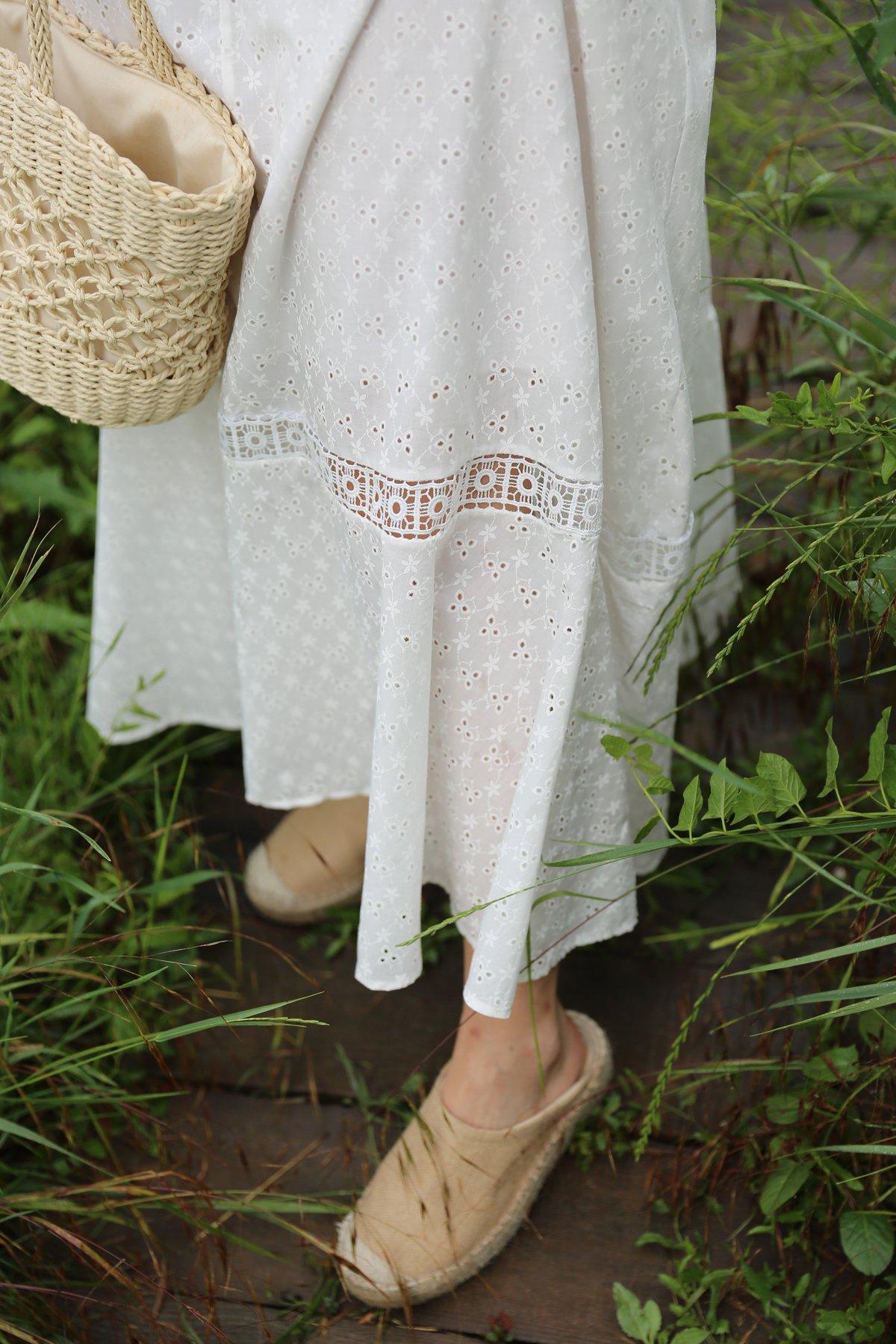 İp Askılı İşlemeli Tasarım Uzun Elbise