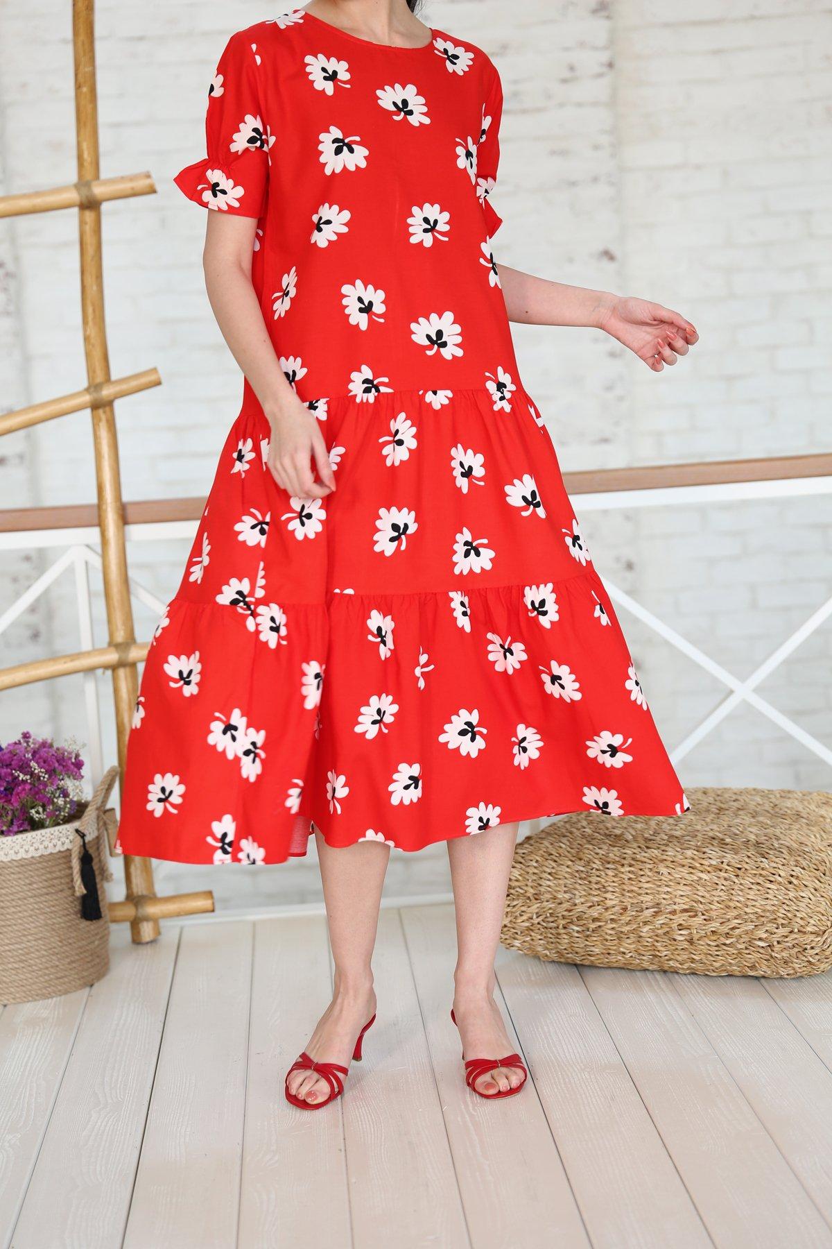 Yaprak Desenli Altı Pileli Elbise