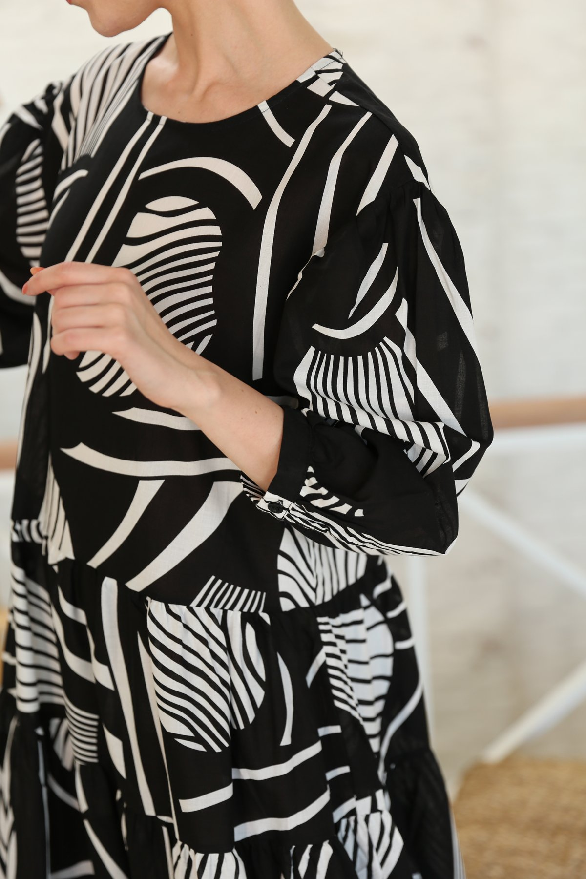 Yaprak Desenli Vual Elbise