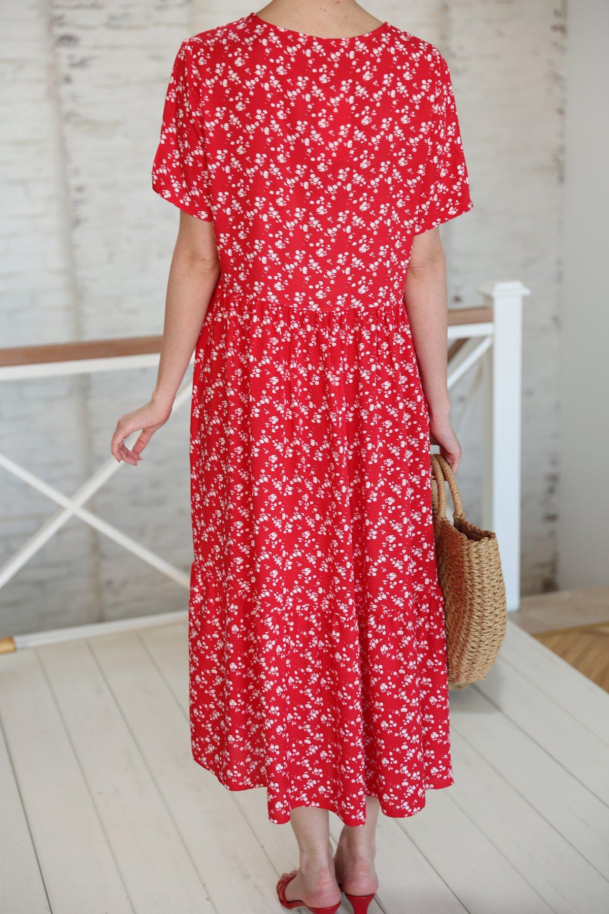 Önden Dikişli Etek Altı Pileli Elbise