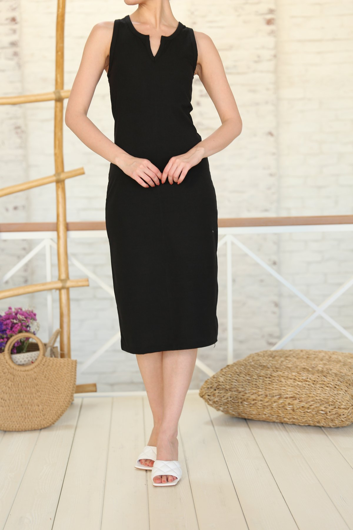 Yaka Detay Fitilli Elbise