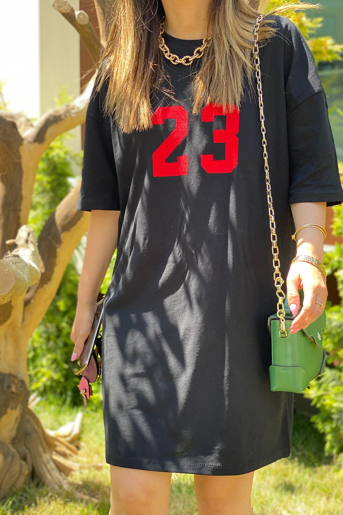 23 Baskılı Salaş Elbise