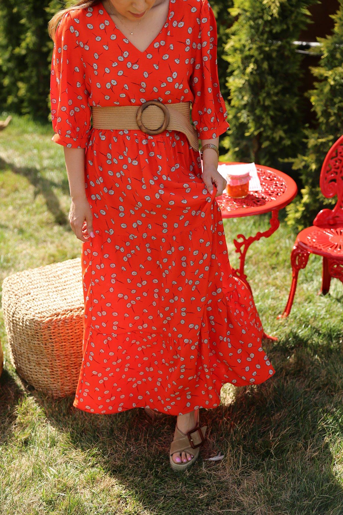 V Yaka Papatya Desen Elbise