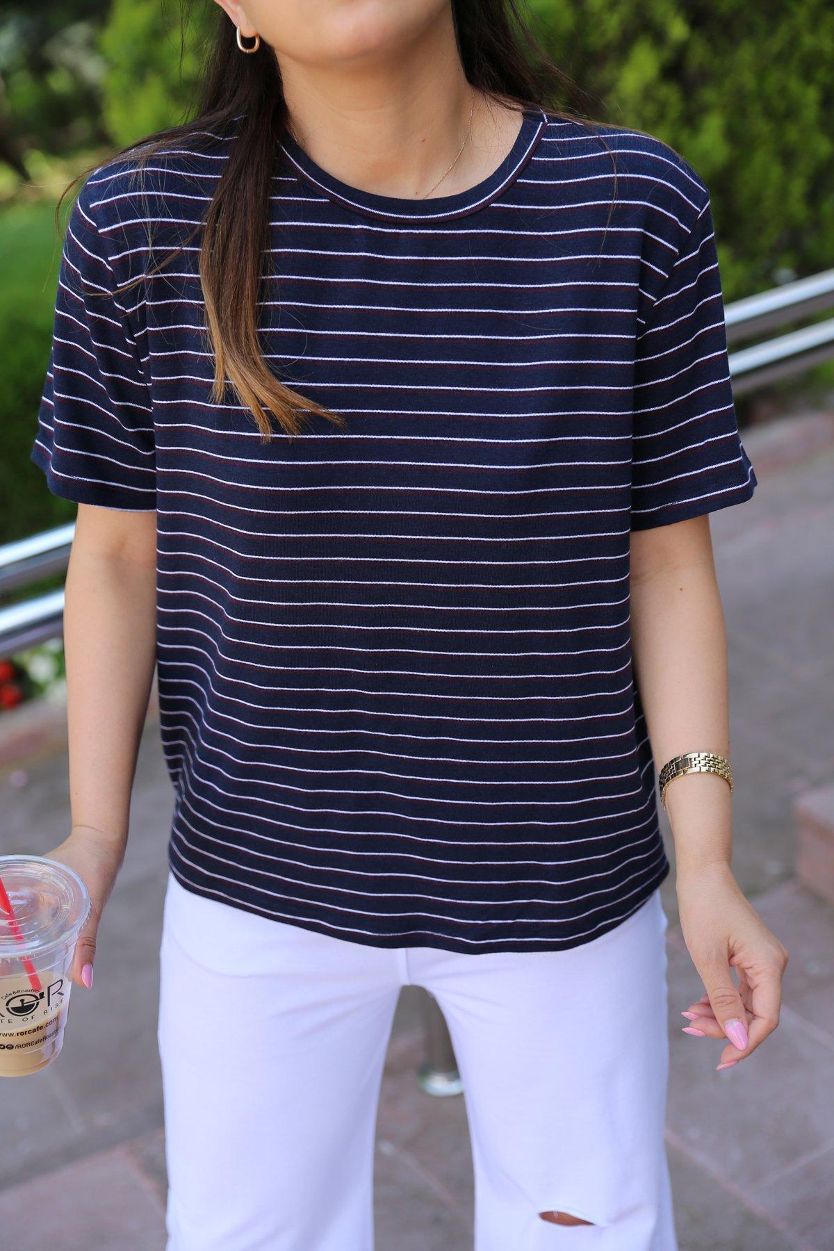 Çizgili Salaş Tişört
