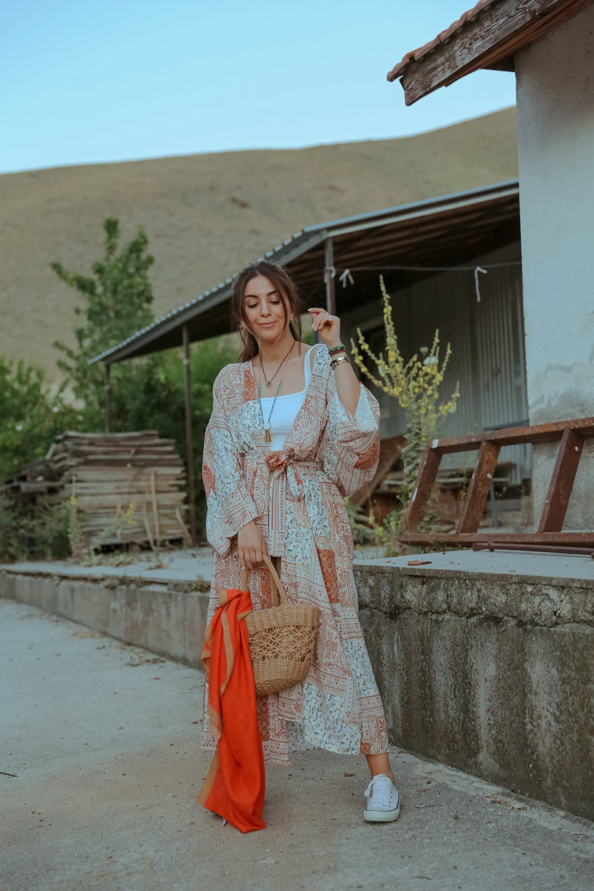 Etnik Desen Belden Kemerli Kimono