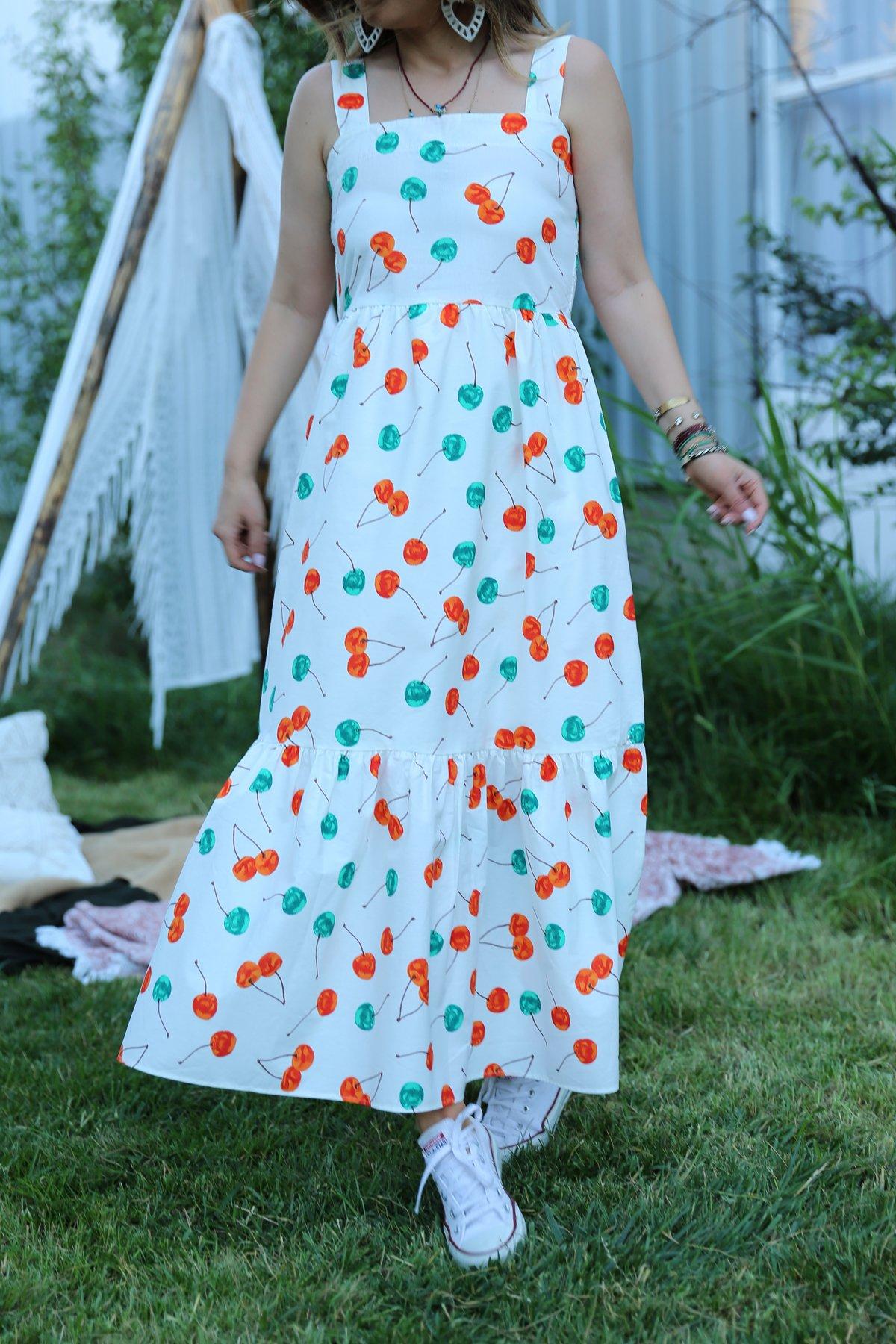 Kiraz Desenli Elbise