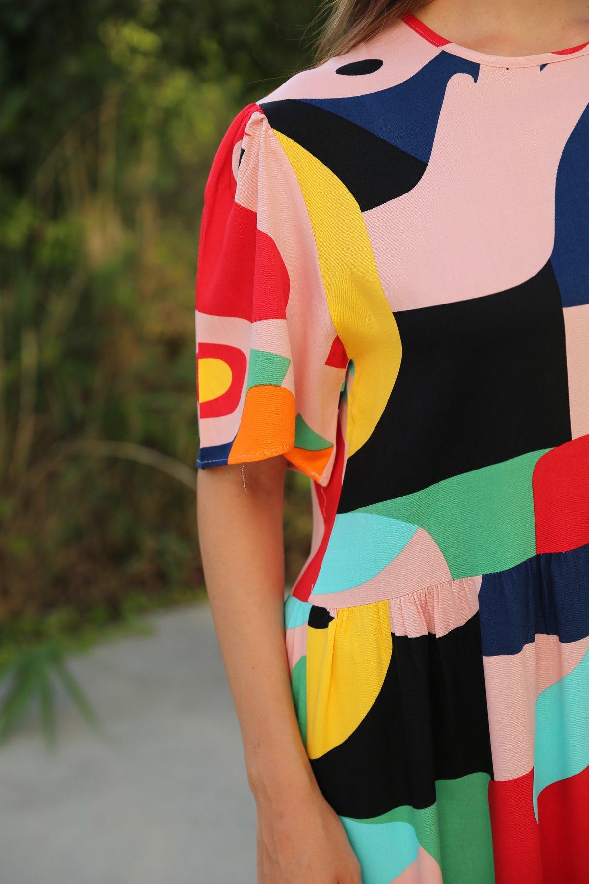 Grafik Desenli Elbise
