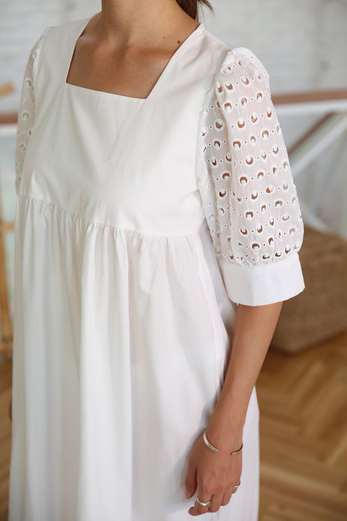 Kare Yaka Poplin Elbise