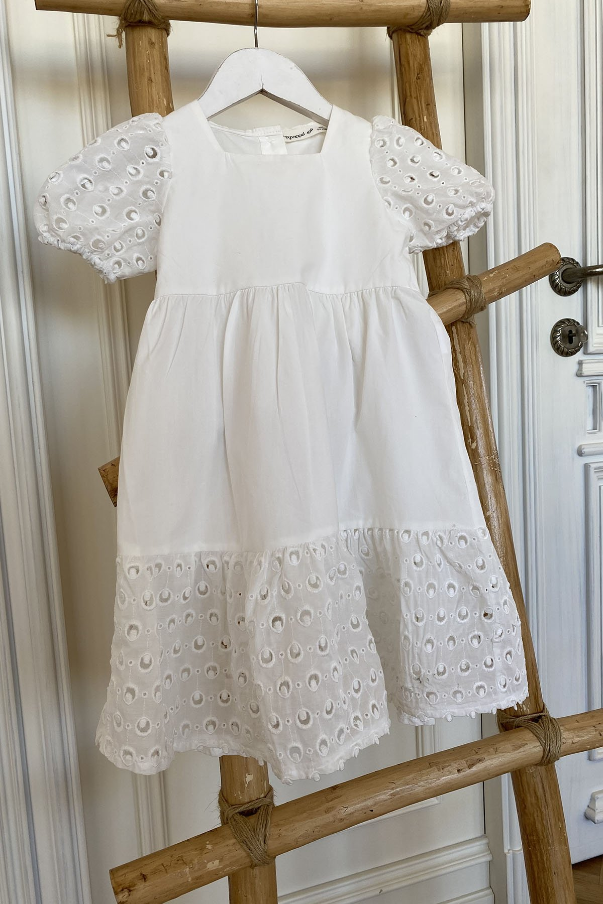 Kare Yaka Poplin Kumaş Çocuk Elbise