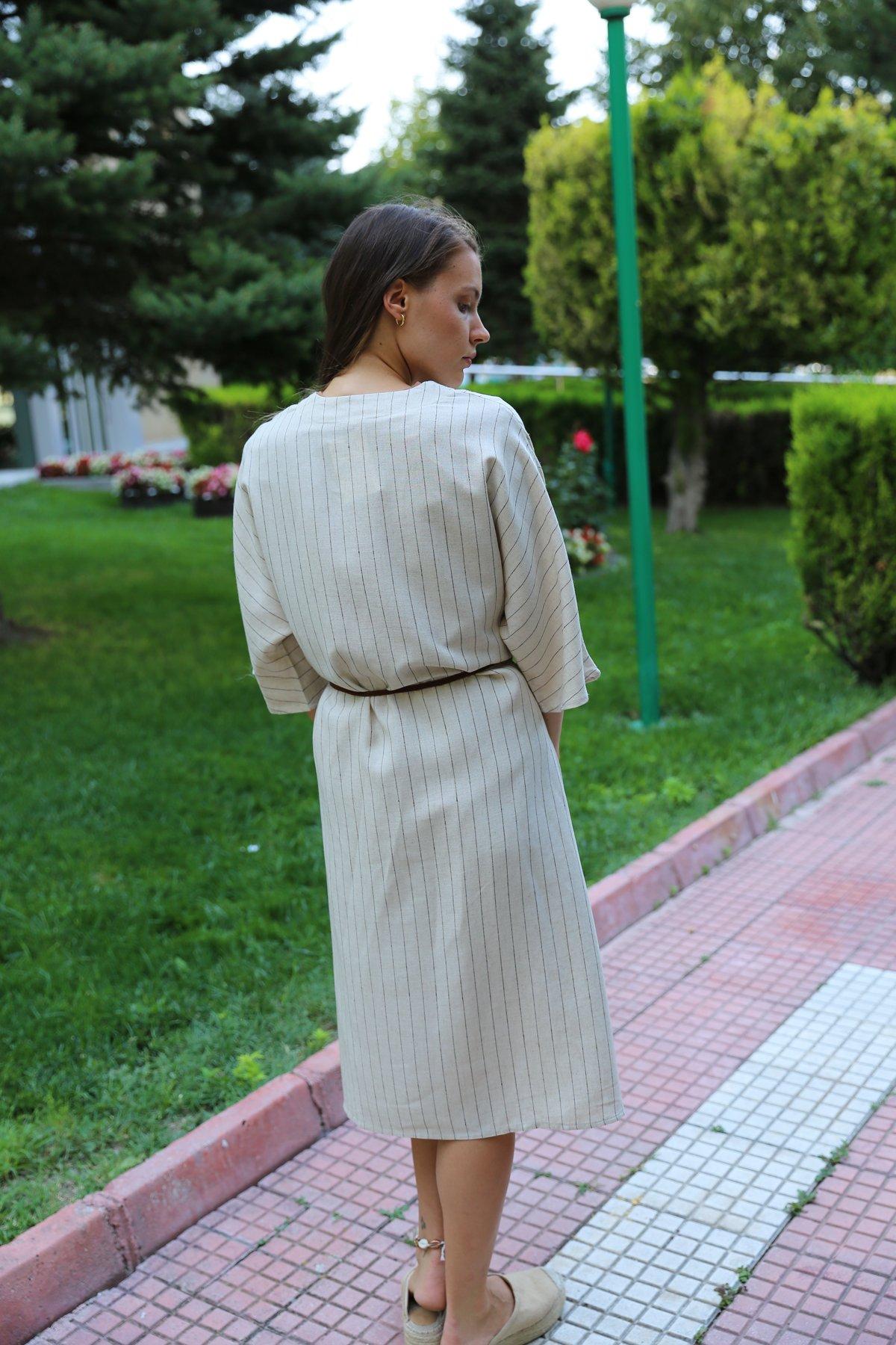 Boydan Çizgili Kemer Detay Kimono