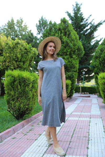 Yıkamalı Penye Elbise