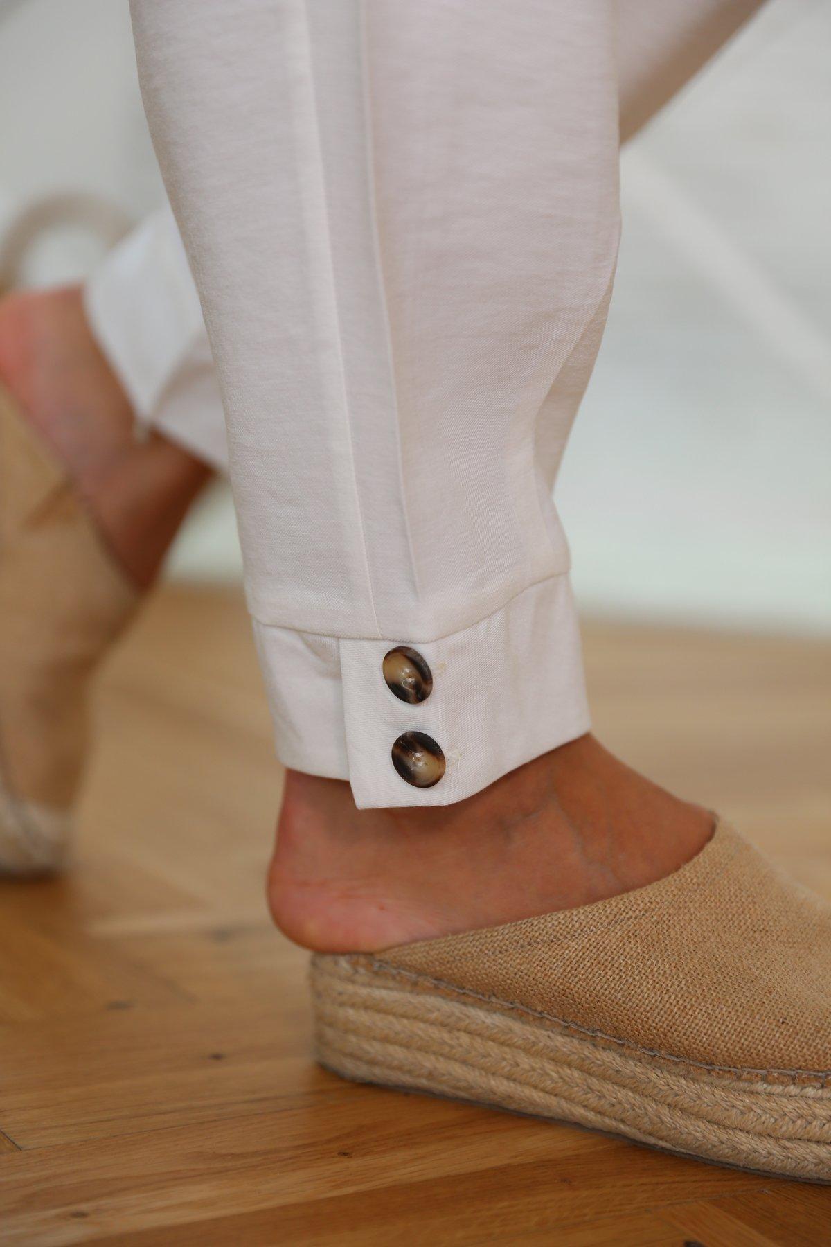 Paça Çift Düğmeli Pantolon
