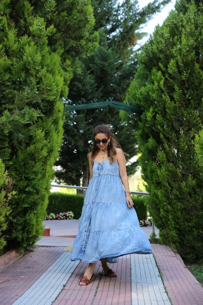 Kat Kat İp Askılı Tensel Elbise
