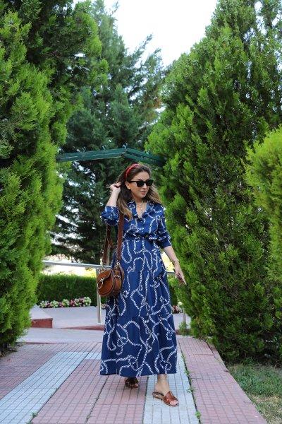 Zincir Desen Gömlek Yaka Elbise