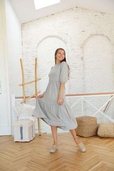 Kat Kat Kolları Büzgülü Triko Elbise