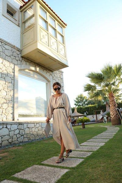 Karpuz Kol Boydan Düğmeli Salaş Elbise