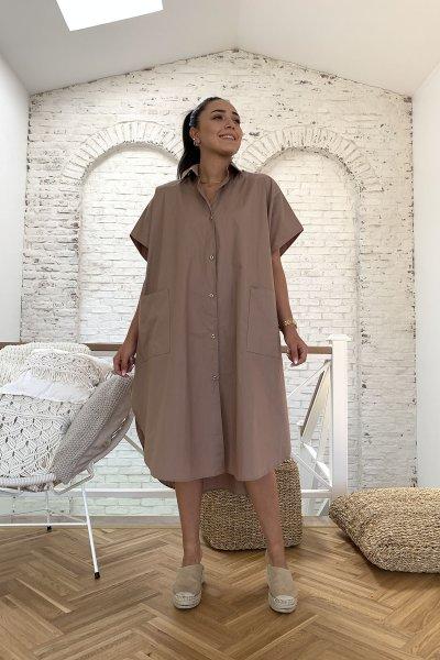 Yarasa Kol Çift Cep Salaş Elbise