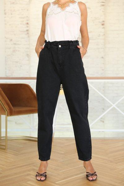Beli Lastikli Siyah Slochy Jean