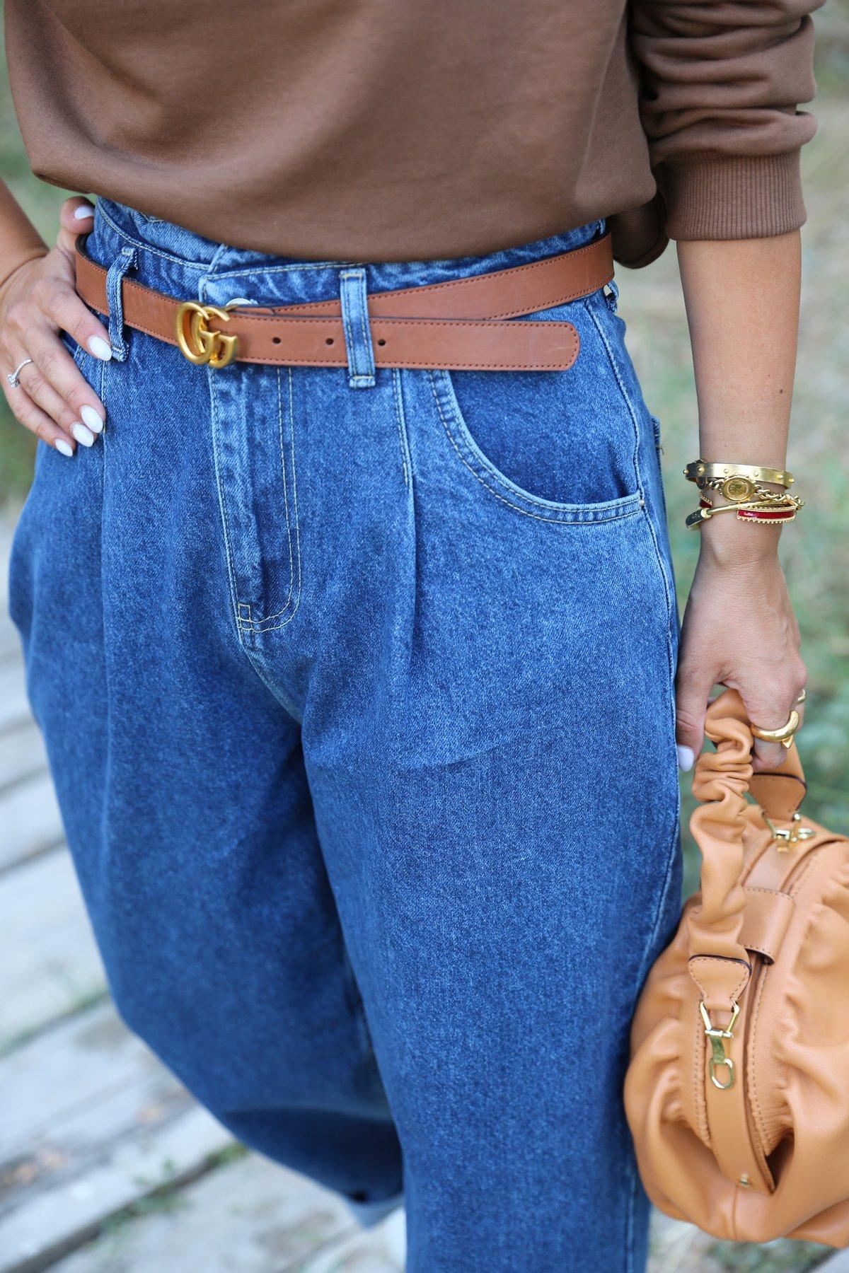 Kemer Kısmı Parçalı Bol Jean