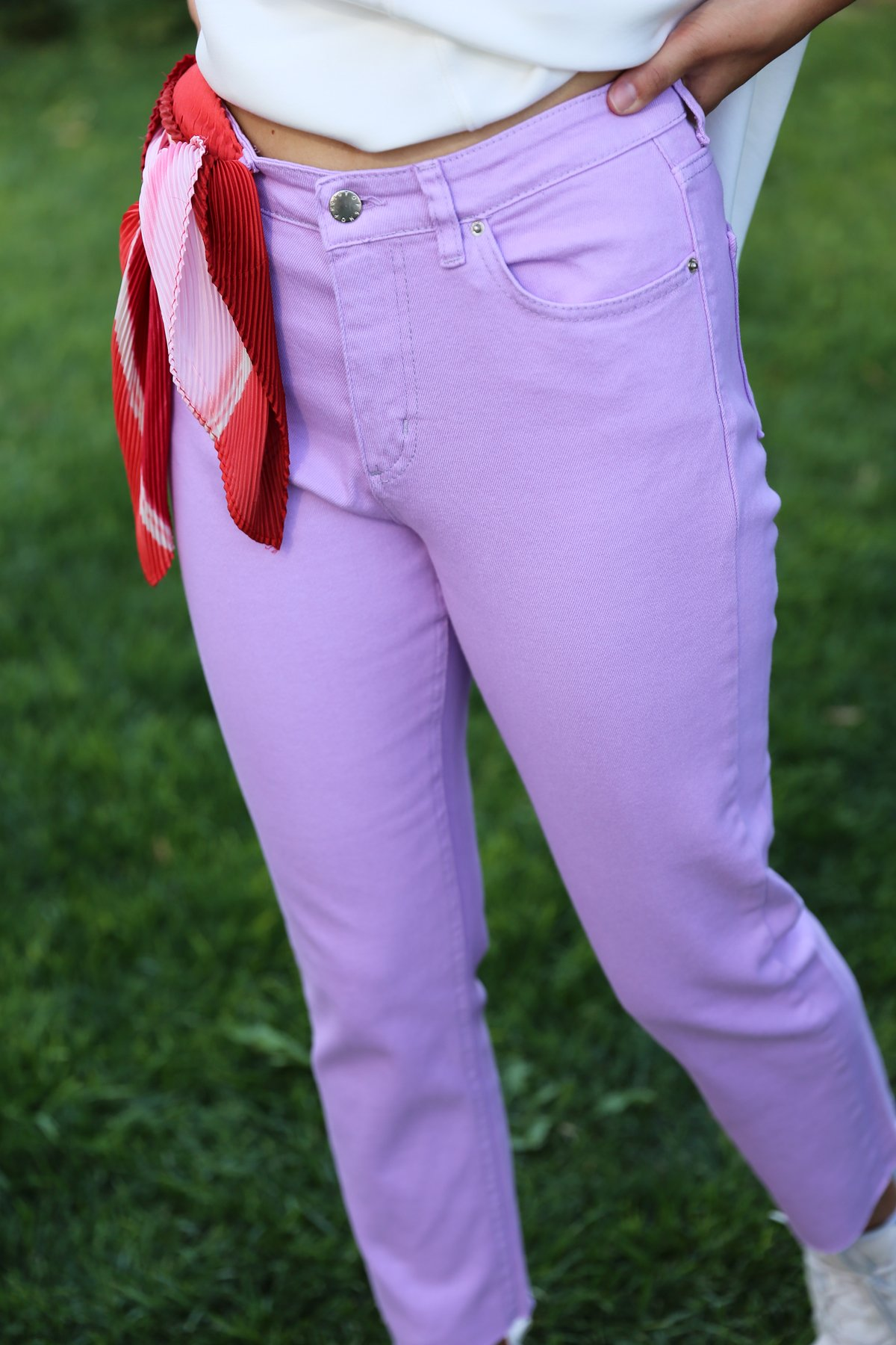 Paçası Kesik Kanvas Jean