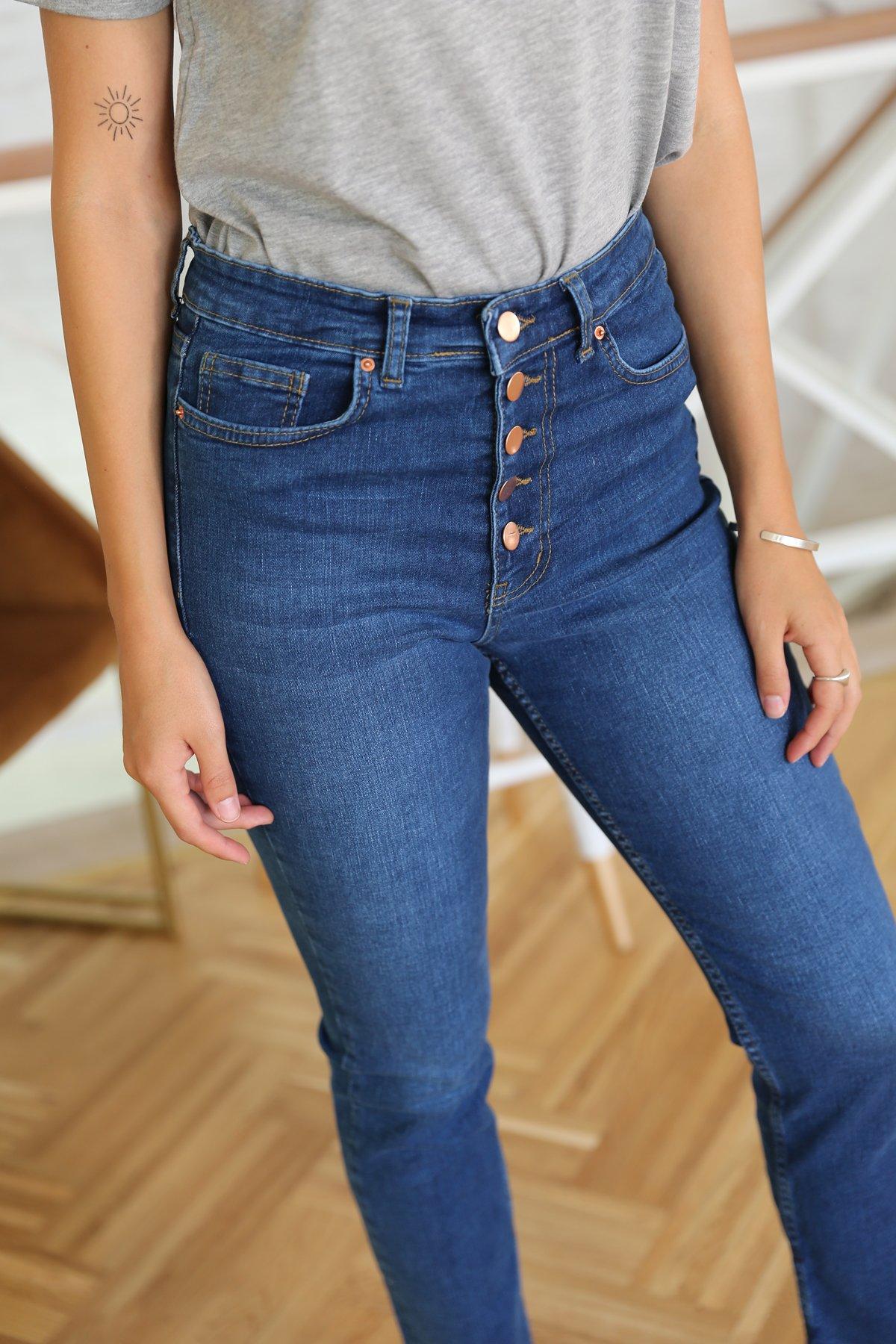 Paçası Kesik 5 Düğmeli Jean