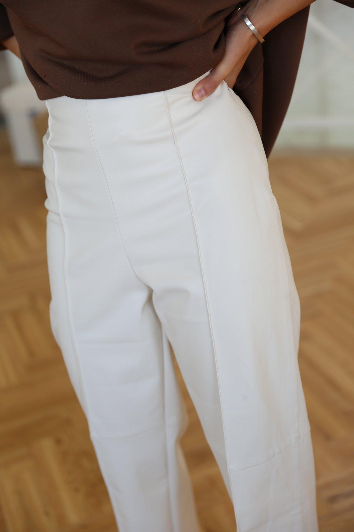 Paçası Kesik Deri Pantolon