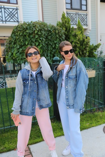 Kolları Penye Detay Jean Ceket