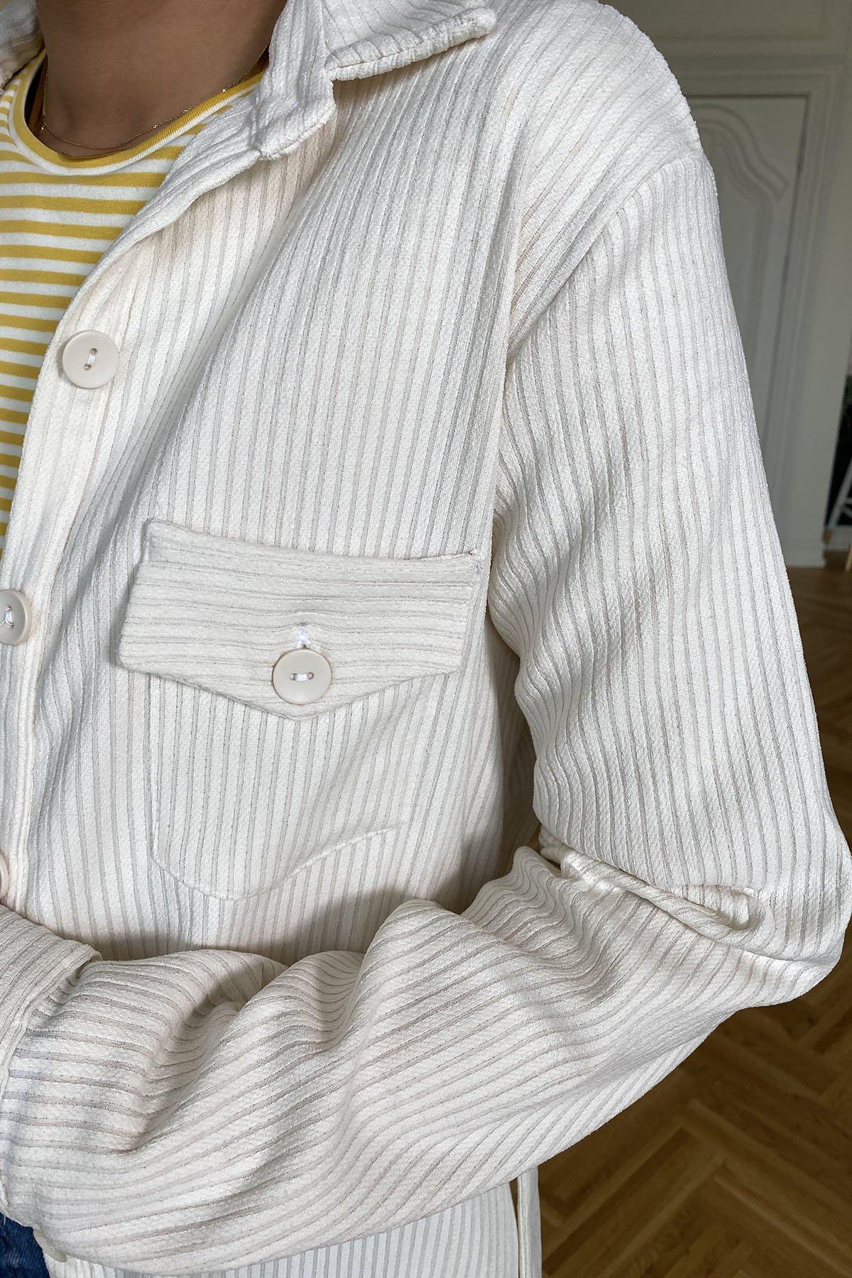 Boydan Düğmeli Gömlek Yaka Fitilli Elbise