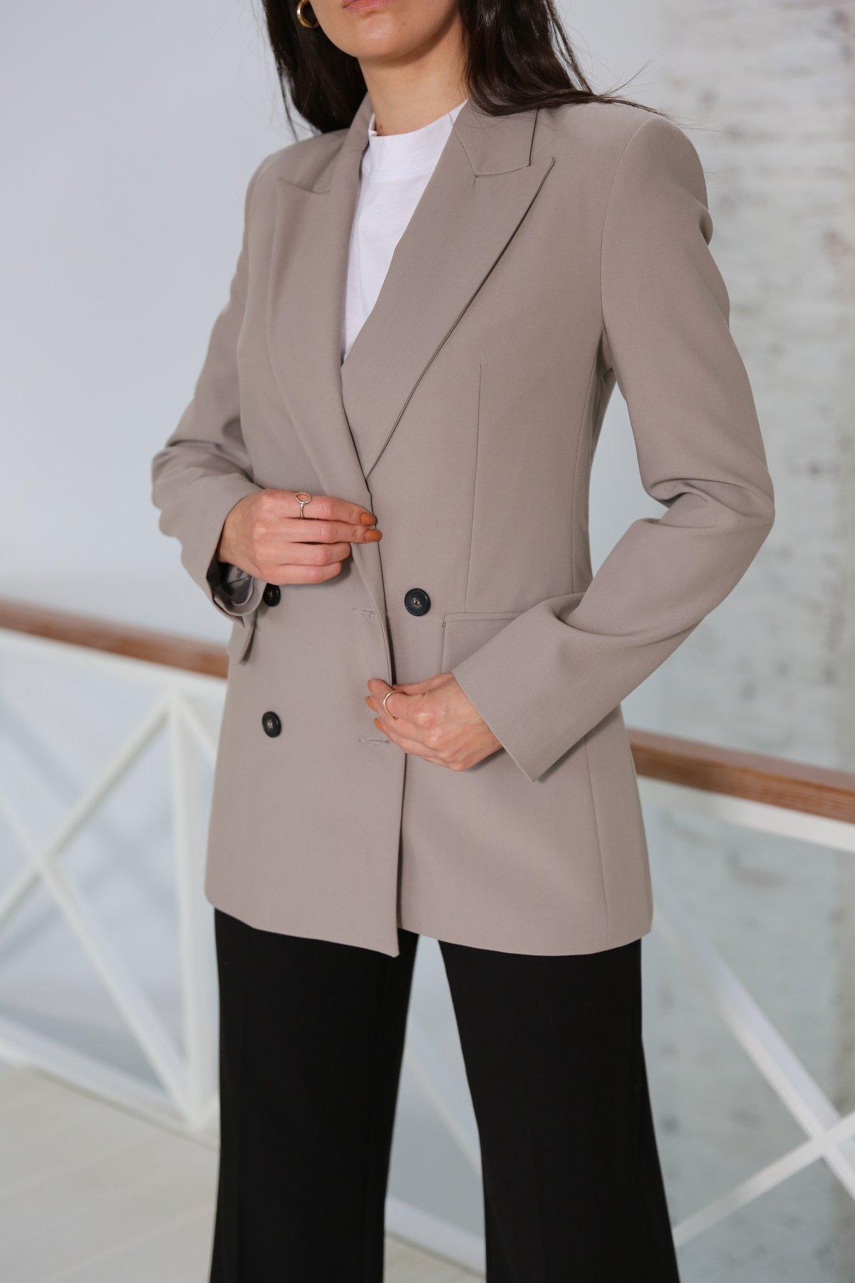 Kruvaze Önden Düğmeli Blazer Ceket