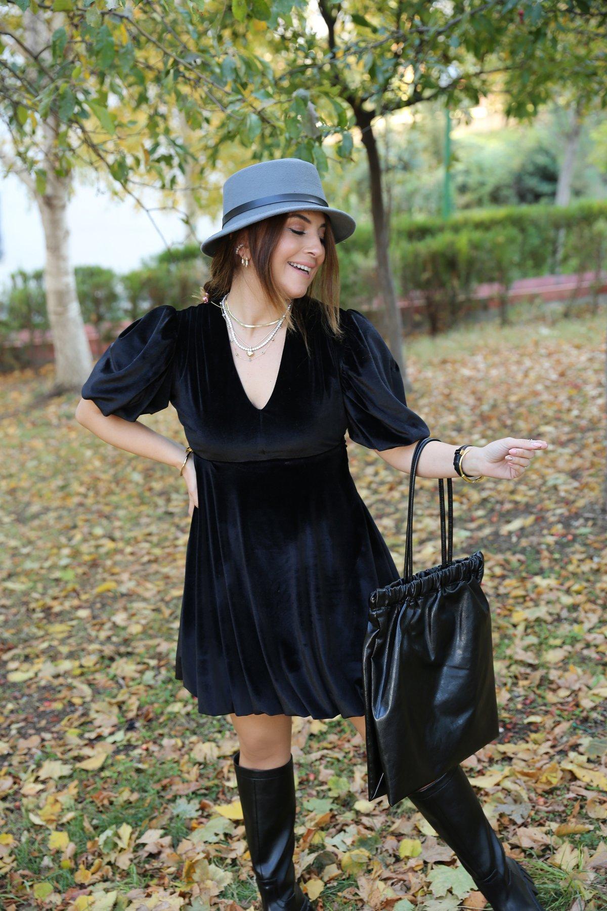 V Yaka Balon Kol Kadife Elbise