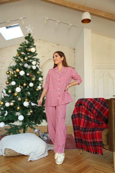 Uyku Bantlı Ekoseli Pijama Takımı
