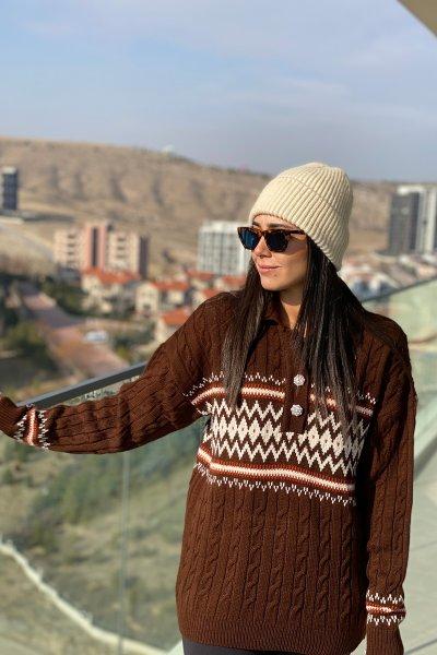 Düğmesi Taş Detay Etnik Desen Kazak