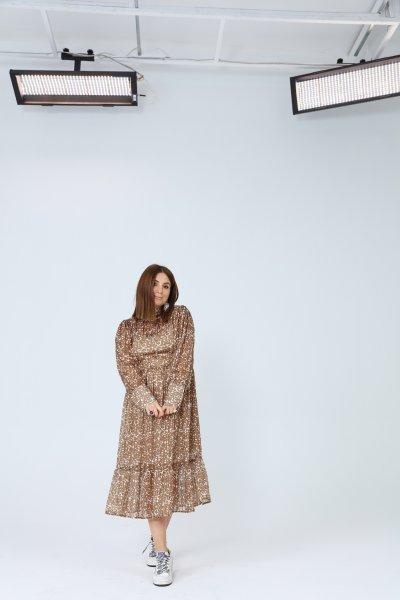 Yaka Ve Kol Detay Simli Elbise