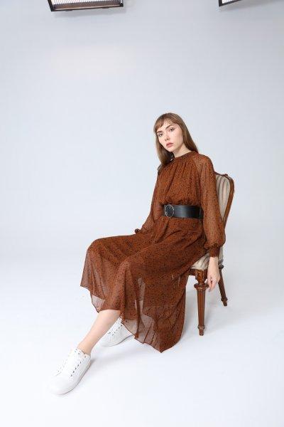 Bel Ve Kol Lastikli Deri Kemerli Elbise
