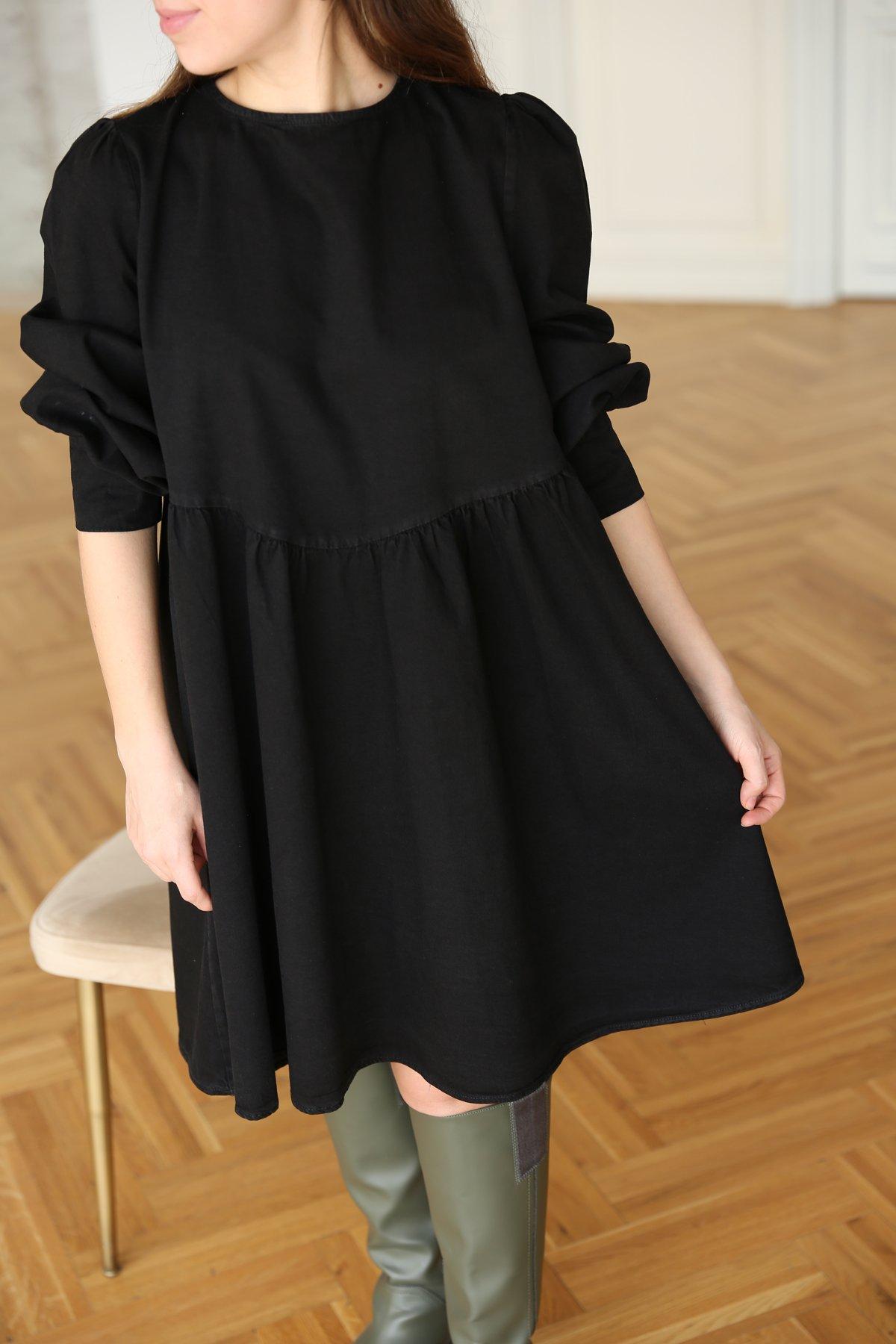 Enseden Bağlamalı Denim Elbise