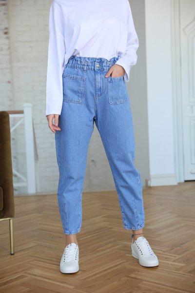 Beli Lastikli Çift Cepli Jean