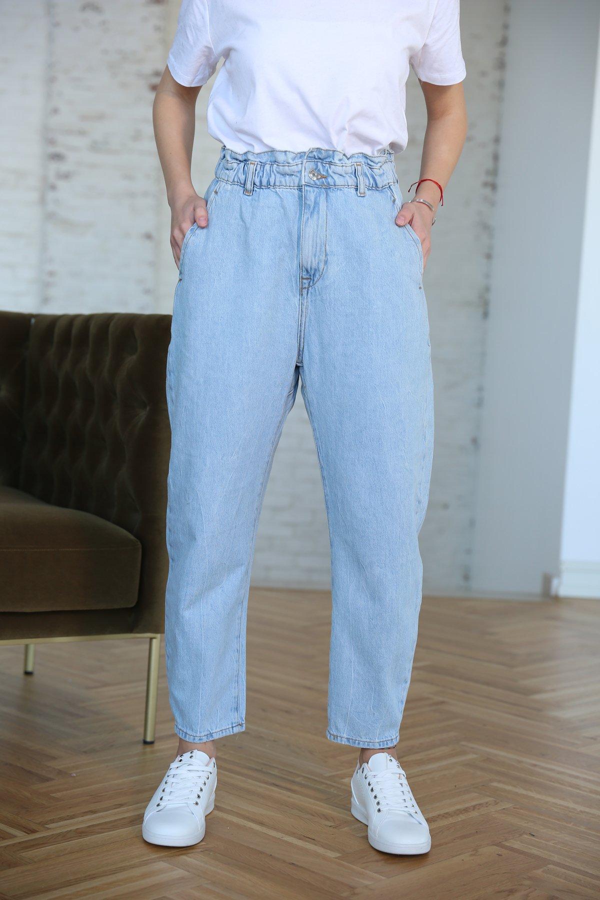 Beli Lastikli Yandan Cepli Jean