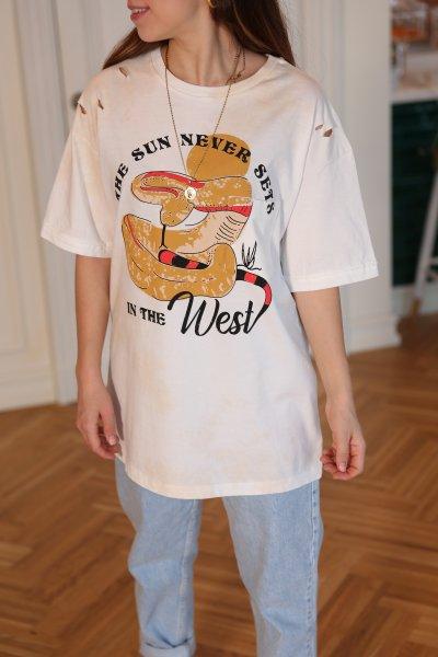 Yılan Baskılı Tişört