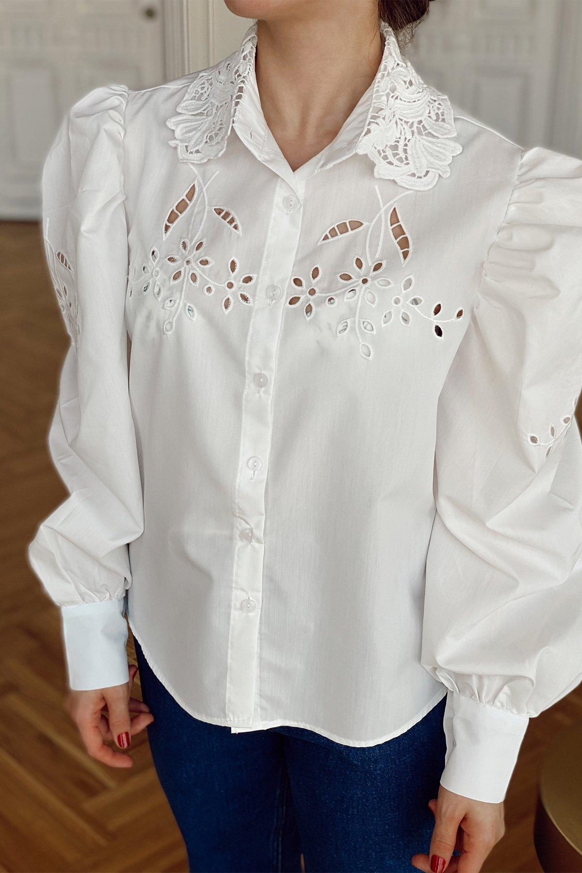 Yakası Dantelli Karpuz Kol Gömlek