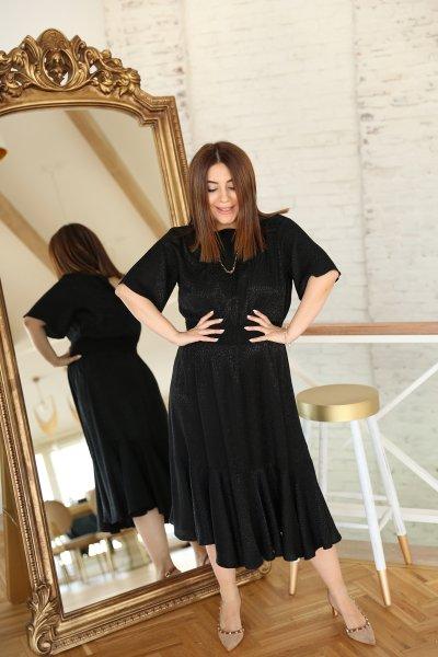 Beli Lastikli Etek Ucu Fırfırlı Uzun Elbise